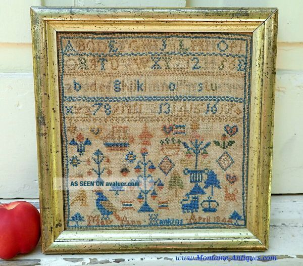 Small Needlework Sampler by Mary Hankins dated 1844